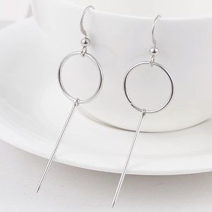 Jewelry - Silver Circle Bar Earrings